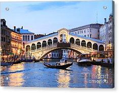 Gondola In Front Of Rialto Bridge At Dusk Venice Italy Acrylic Print by Matteo Colombo