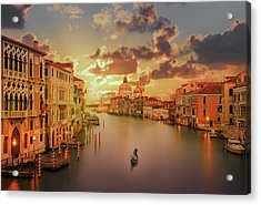 Gondola In The Grand Canal At Sunset Acrylic Print by Buena Vista Images