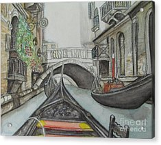 Acrylic Print featuring the painting Gondola Venice Italy by Malinda  Prudhomme