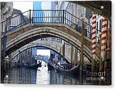 Gondolas And Bridges On Canal Acrylic Print by Sami Sarkis