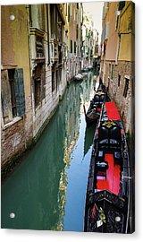 Gondolas And Canal, Venice, Veneto Acrylic Print by Russ Bishop