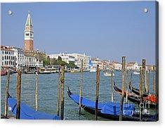 Gondolas At Pier By Grand Canal Acrylic Print by Sami Sarkis