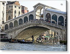 Gondolas Beneath Rialto Bridge On Grand Canal Acrylic Print by Sami Sarkis