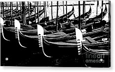 Gondolas Lined Up Acrylic Print by Jacqueline M Lewis