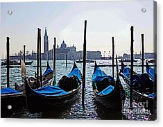 Gondolas Of Venice Acrylic Print by Alison Tomich