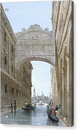 Gondolas Passing Under The Bridge Of Sighs Acrylic Print by Giovanni Battista Cecchini