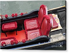 Gondolas Red Seats By Canal Acrylic Print