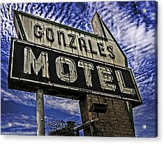 Gonzales Motel In Color Acrylic Print by Andy Crawford
