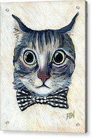 Good Boy Cat With A Checked Bowtie Acrylic Print