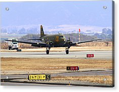 Gooney Bird C47 Landing At Salinas Air Show Acrylic Print