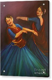 Gopis Dancing To The Flute Of Krishna Acrylic Print