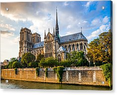 Gorgeous Sunset Over Notre Dame Cathedral Acrylic Print
