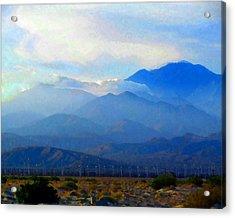 Gorgonio Pass And Mt. San Gorgonio Acrylic Print by Timothy Bulone