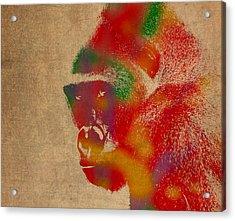 Gorilla Animal Watercolor Portrait On Worn Canvas Acrylic Print