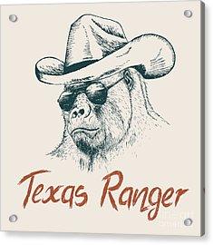 Gorilla Like A Texas Ranger Dressed In Acrylic Print by Dimonika