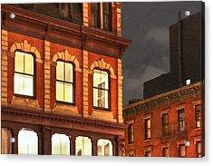Gotham By Night - New York City Acrylic Print by Mark E Tisdale