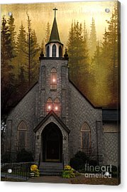 Gothic Old Church Autumn Forest Woodlands Acrylic Print by Kathy Fornal