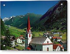 Gothic Spikes In An Austrian Village Acrylic Print by Wernher Krutein