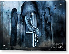 Gothic Surreal Angel In Mourning With Ravens Acrylic Print by Kathy Fornal