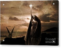 Gothic Surreal Fantasy Dark Haunting Female Figure In Black Cape With Gargoyle Acrylic Print by Kathy Fornal
