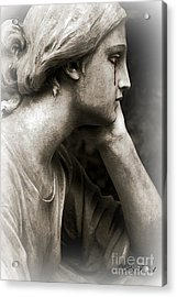 Gothic Surreal Cemetery Mourner Female Face - Mourning Female Statue Crying Tears - Sad Angel Art Acrylic Print