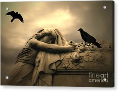 Gothic Surreal Haunting Female Cemetery Draped Over Coffin With Black Ravens Acrylic Print by Kathy Fornal