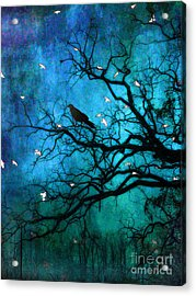 Gothic Surreal Nature Ravens Crow And Birds Acrylic Print by Kathy Fornal