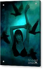 Gothic Surreal Ravens With Asian Girl  Acrylic Print by Kathy Fornal