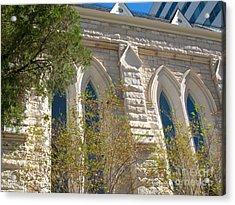 Gothic Windows - Austin Texas Church Acrylic Print by Connie Fox