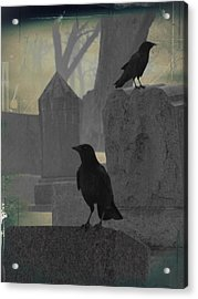 Gothic Winter Blackbirds Acrylic Print by Gothicrow Images