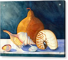 Acrylic Print featuring the painting Gourd And Shells by Katherine Miller