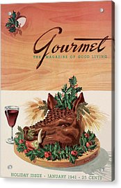 Gourmet Cover Featuring A Boar's Head Acrylic Print by Henry Stahlhut