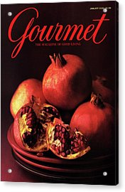 Gourmet Cover Featuring A Plate Of Pomegranates Acrylic Print