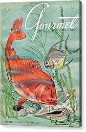 Gourmet Cover Featuring A Snapper And Pompano Acrylic Print by Henry Stahlhut