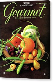 Gourmet Cover Featuring A Variety Of Fruit Acrylic Print by Romulo Yanes