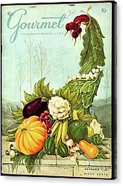 Gourmet Cover Illustration Of A Cornucopia Acrylic Print by Hilary Knight