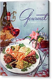 Gourmet Cover Illustration Of A Plate Of Antipasto Acrylic Print by Henry Stahlhut