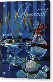 Gourmet Cover Of Cherry Flambe Acrylic Print by Henry Stahlhut
