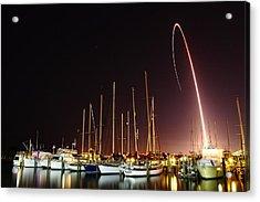 Gps Launch Over The Marina Acrylic Print by John Moss