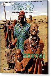 Gq Cover Featuring A Group Of Massai People Acrylic Print