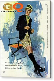 Gq Cover Featuring An Illustration Of A Man Acrylic Print by Howard Terpning
