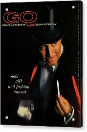 Gq Cover Of A Model Wearing Top Hat And Tailcoat Acrylic Print by Casele-Chadwick