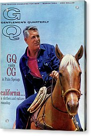 Gq Cover Of Actor Carey Grant Horseback Riding Acrylic Print by Hal Adams