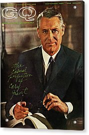 Gq Cover Of Actor Carey Grant Wearing Suit Acrylic Print by Chadwick Hall