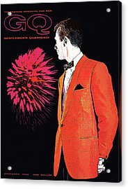Gq Cover Of An Illustration Of A Man Wearing An Acrylic Print by Leon Kuzmanoff