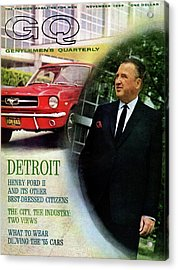 Gq Cover Of Henry Ford II And 1965 Ford Mustang Acrylic Print by Richard Nones