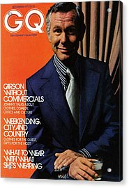 Gq Cover Of Johnny Carson Wearing Suit Acrylic Print by Bruce Bacon