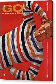 Gq Cover Of Man Wearing Striped Sweater Acrylic Print by Leonard Nones