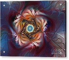 Grace And Elegance-floral Fractal Design Acrylic Print by Karin Kuhlmann