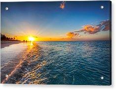 Grace Bay Beach Sunset Acrylic Print by Jo Ann Snover